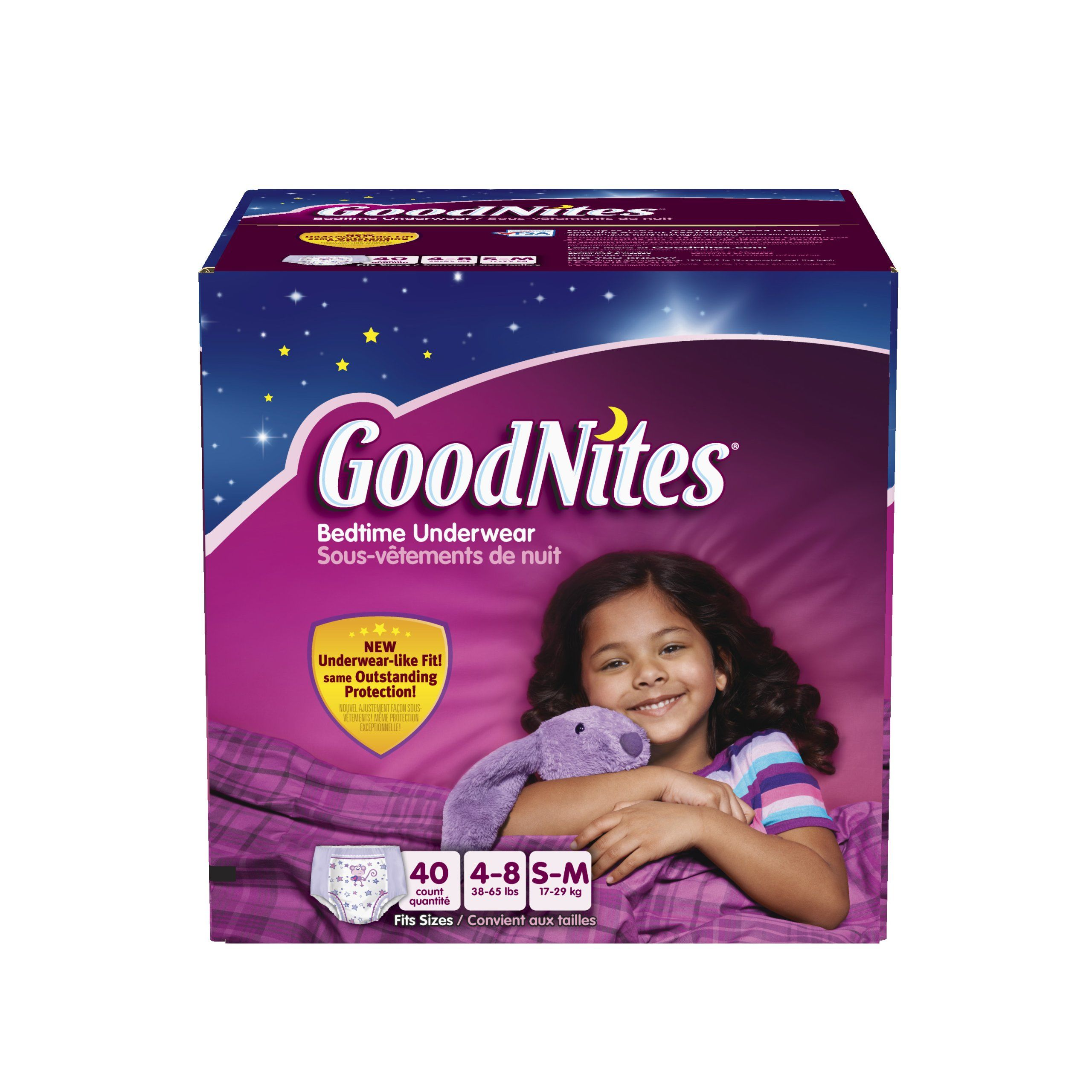 GoodNites Bedtime Pants for Girls, Small/Medium, 40 count. GoodNites Bedtime Pants fits girls from 38 to 65 lbs (Clothing Sizes 4-8). Eligible for FSA (Flexible Spending Account) purchase. GoodNites Bedtime Pants are 40% more absorbent than training pants; versus the leading brand size 4T/5T training pants. Comfortable feel and underwear-like fit that provides discreet bedwetting protection under pajamas. Cool graphics and designs ? Disney Fairies Tinker Bell character. Free Marvel…