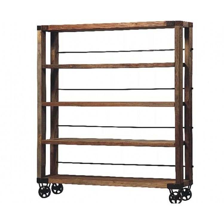 Morgan Reclaimed Solid Wood Bookshelf On Cast Iron Wheels Solid Wood Bookshelf Bookshelves Industrial Bookcases