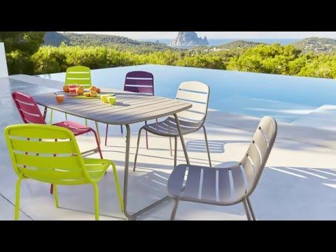 table et chaise de jardin gri vert rose violet gamme hyba acier 151 ambiances jardin. Black Bedroom Furniture Sets. Home Design Ideas