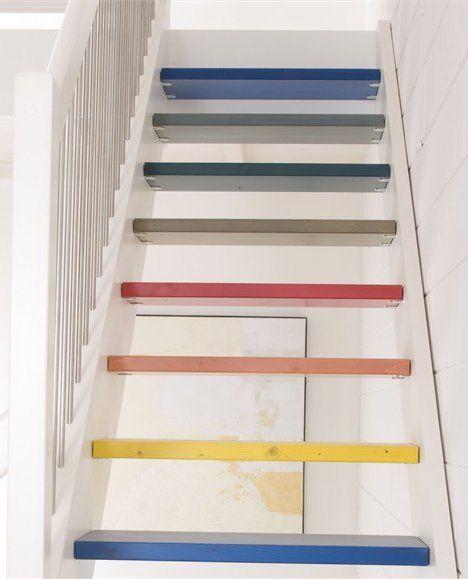 Déco Cage Escalier 50 Intérieurs Modernes Et Contemporains: Un Escalier Sans Contremarche, Mais Version Arc-en-ciel