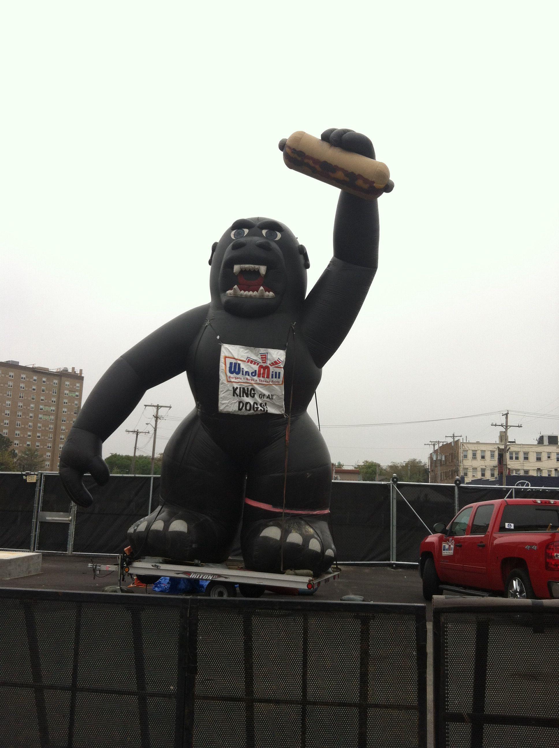 Gorilla advertising the windmill in asbury park