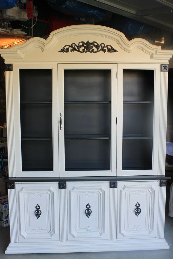 Upcycled China Cabinet - Black and Antique White - 25% OFF - 495.00 - Upcycled China Cabinet - Black And Antique White - 25% OFF - 495.00