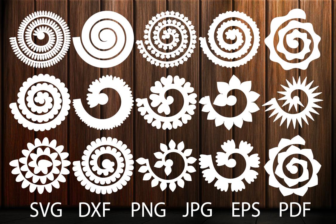 Rolled Paper Flower Templates SVG, 3D Rose SVG, Origami