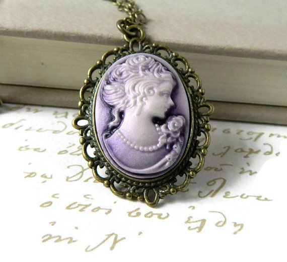 Woman cameo necklace victorian lady cameo pendant purple cameo purple cameo necklace victorian lady cameo pendant antique brass victorian downton abbey silhouette jewelry on etsy aloadofball Image collections