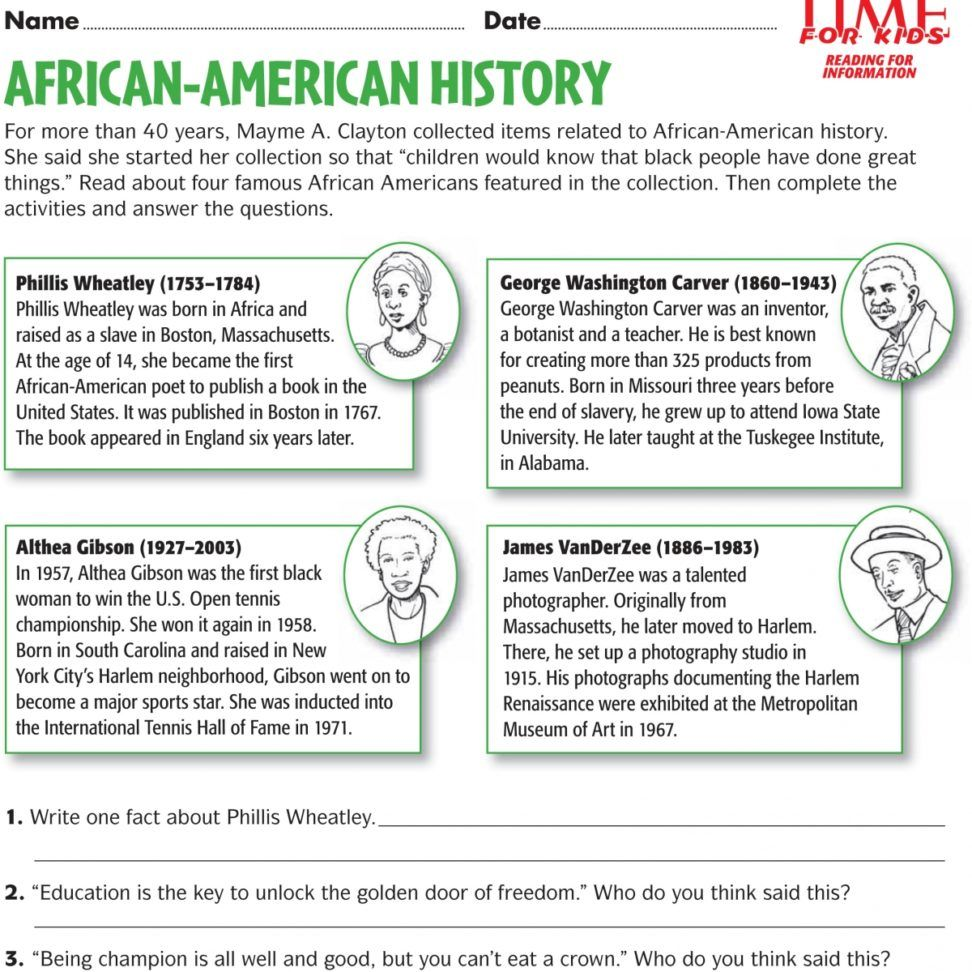 black history worksheets Yahoo Image Search Results