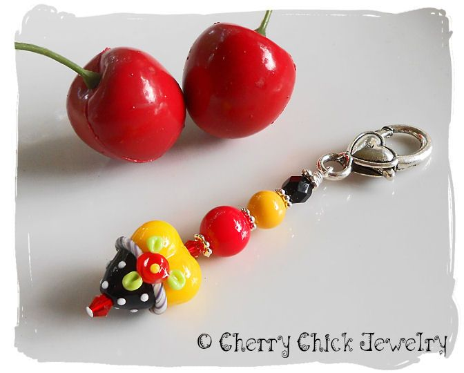 Poppy Flower Lampwork glass Heart Purse Charm and Zipper Pull This whimsical Heart charm could be used as a purse charm, yoga bag or a zipper pull. $18 #CherryChick #Heart #Lampwork #PurseCharm #ZipperPull #Polkadots