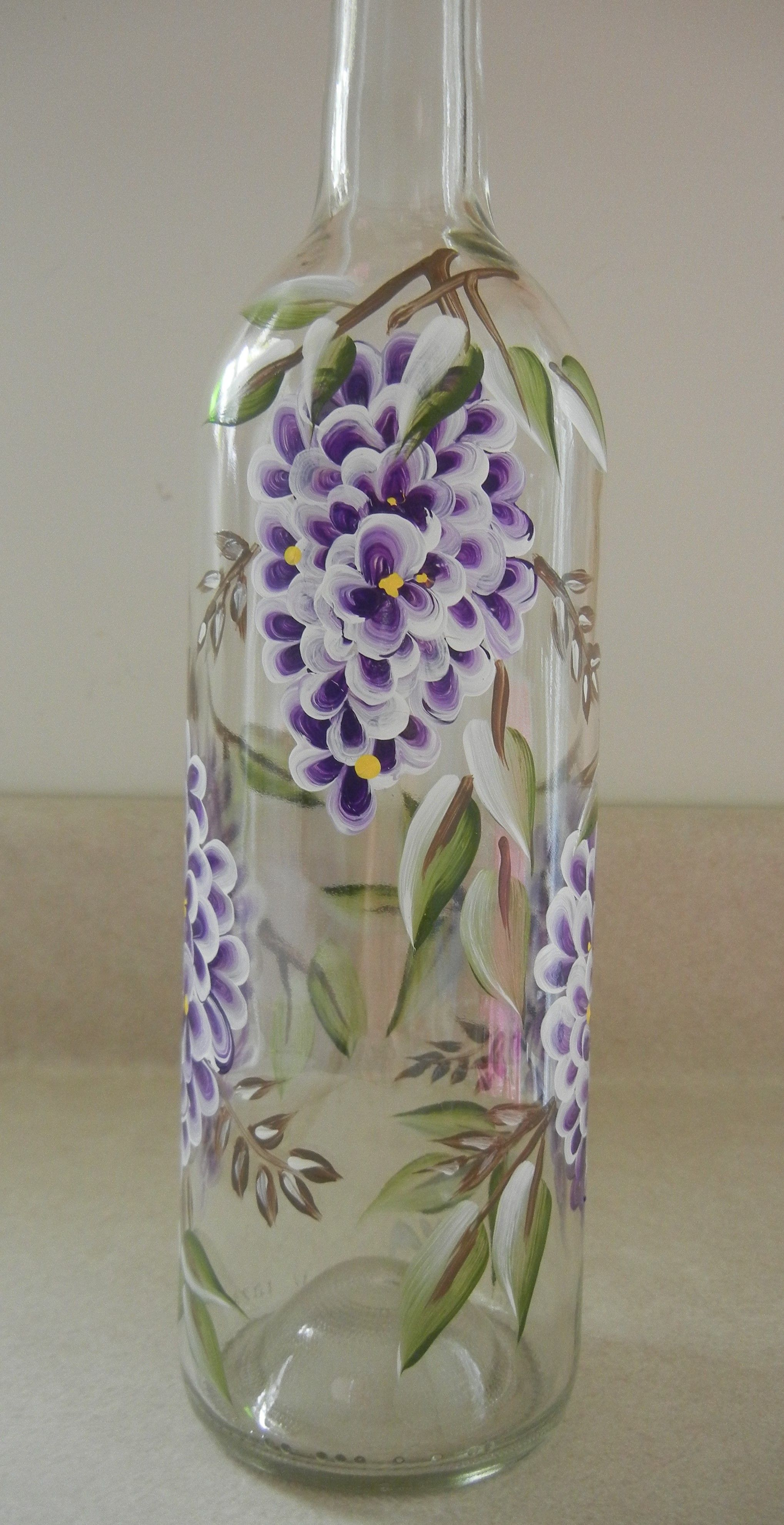Hand painted wine bottle one stroke painting pinterest for Hand painted glass bottles