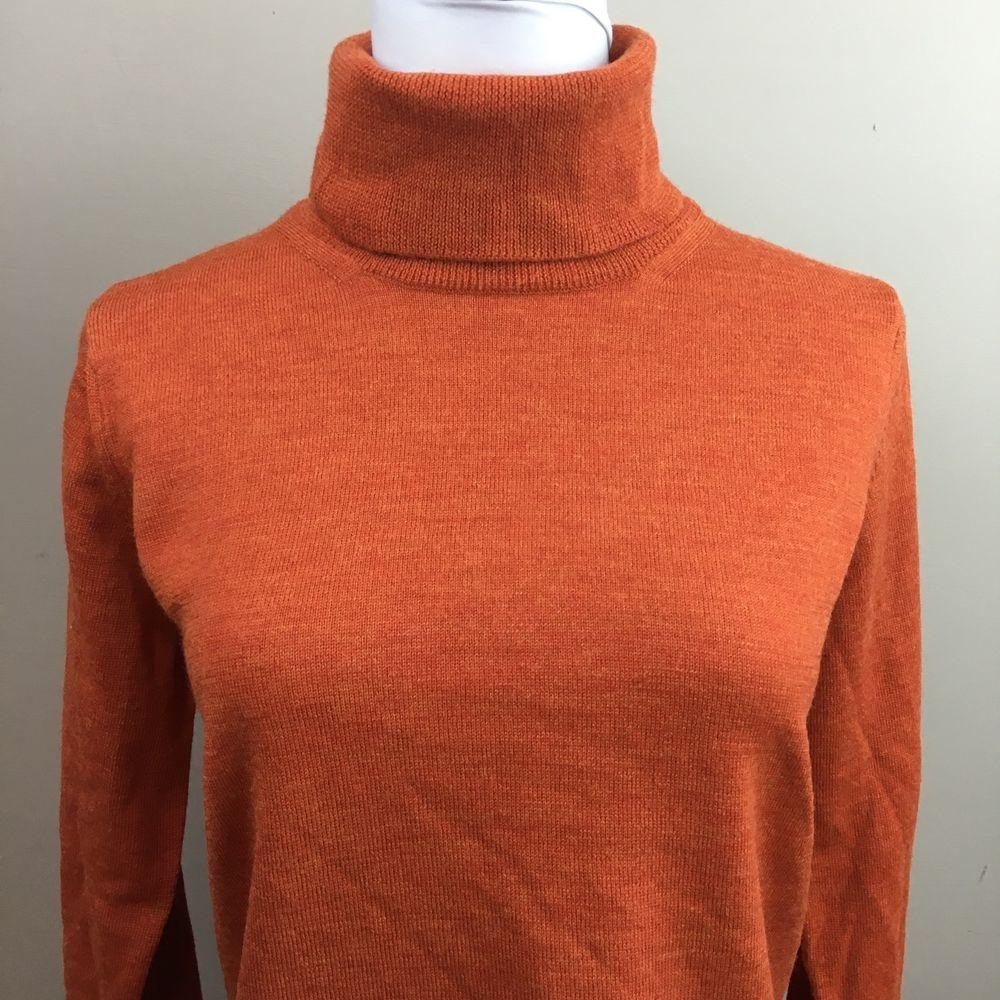 Linea Donna Italy Size M Burnt Orange Turtleneck Knit Sweater Fine ...