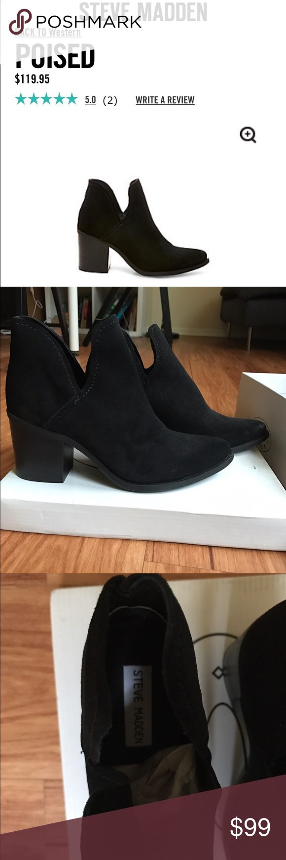 NWT Steve Madden Black Suede Poised Boots 8.5 Never been worn, genuine Steve Madden boots. I accidentally ordered two of the same boots and need to sell the other pair. 2.75 inch heel, leather lining, rubber sole. Runs small. Steve Madden Shoes Ankle Boots & Booties