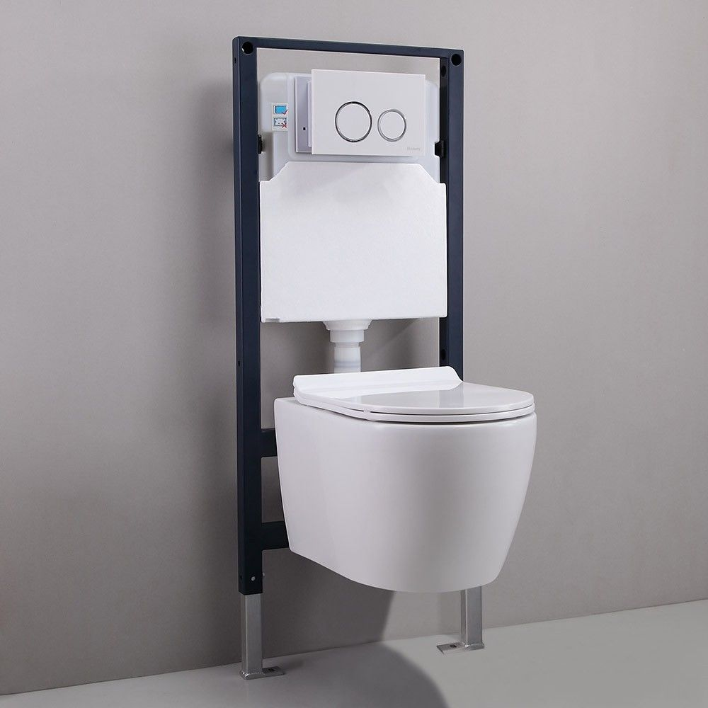 Modern 1 1 1 6 Gpf Dual Flush Elongated Wall Hung Toilet With In Wall Tank And Carrier System In White Custom Height Wall Hung Toilet Wall Mounted Toilet Carrier Systems
