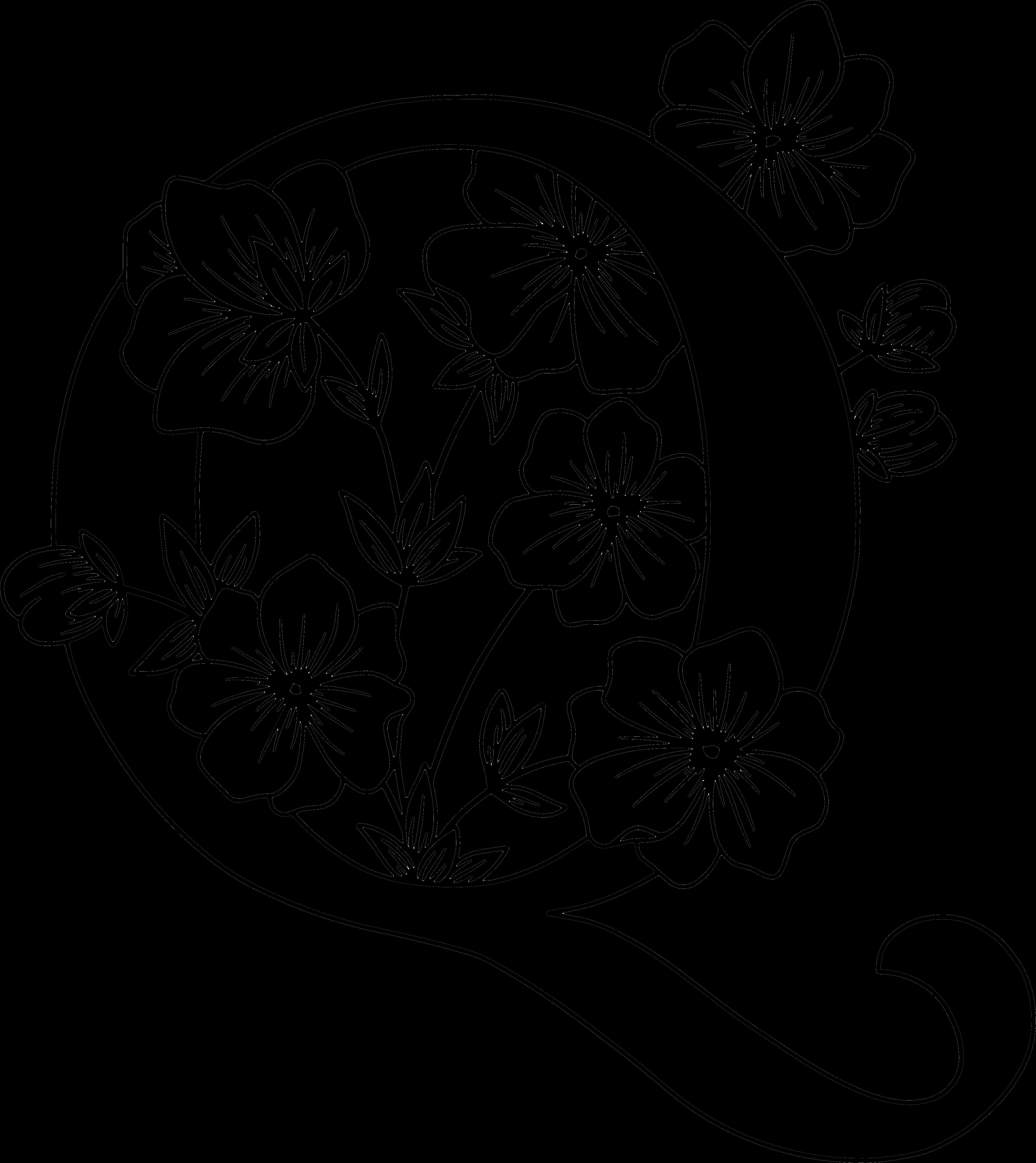 Q Monogram In 2020 Monogram Floral Letters Botanical Flowers