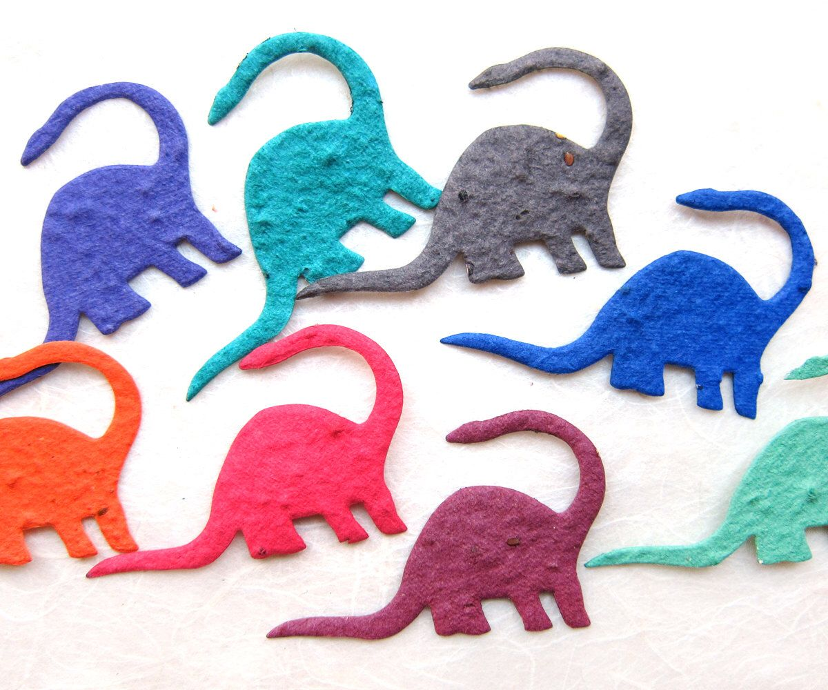 30 seed dinosaur birthday party favors plantable paper