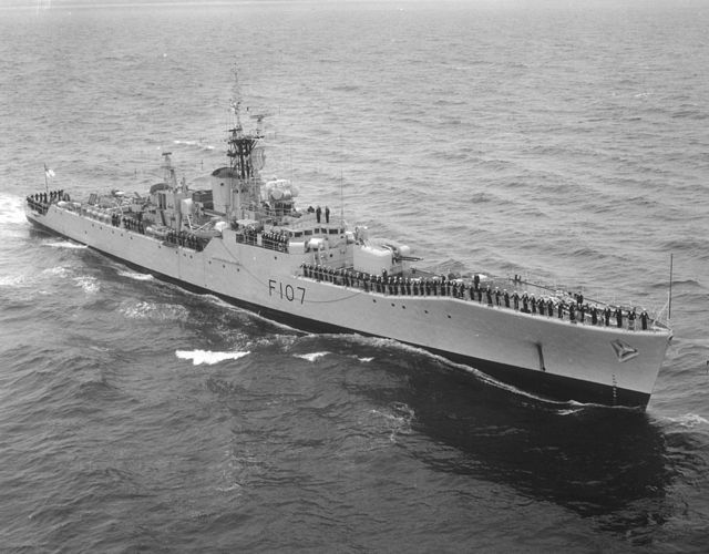 "HMS Rothesay (F107) , a type 12M Frigate built by Yarrow at Scotstoun and commissioned on 23/04/60. Appeared in the Bond film ""Thunderball"" whilst in the Windies. Refitted in mid 60s, losing her 40mm for a Seacat system and one of her AS Mortars for a helicopter flight  deck, hanger & Westland Wasp. Scrapped in '88. Photo is prior to her refit."
