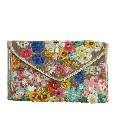 bbf473251f アクセサライズ Flower Applique Clutch Bag