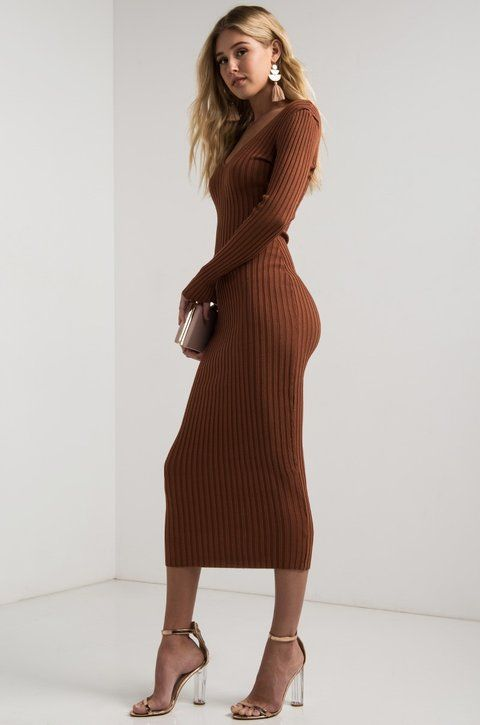 ad792878a84 AKIRA Off Shoulder V Neck Ribbed Knit Bodycon Long Sleeve Midi Dress in  Black