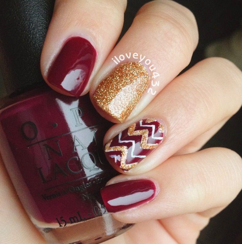30 Cute and Edgy Chevron Nail Arts - red polish and gold glitter ...