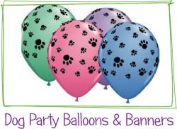 Dog Party Balloons - purple would be perfect