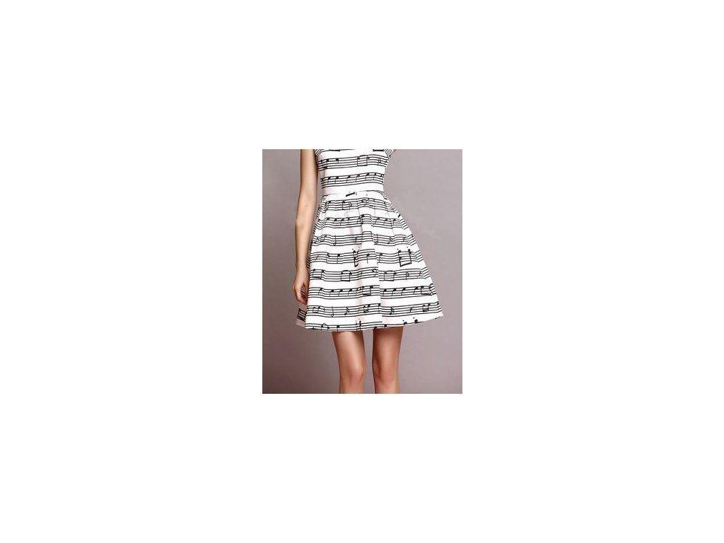 Bavlněné bílé šaty s hudebním motivem a notami - když nevíte co na sebe!