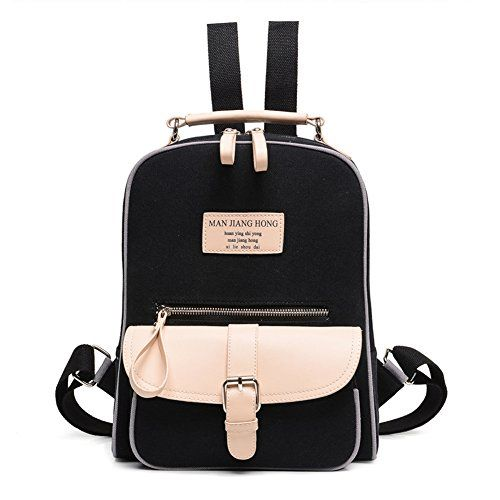 Fashion College Student Cute School Backpack Travel Daypack Women Black Leather Backpack
