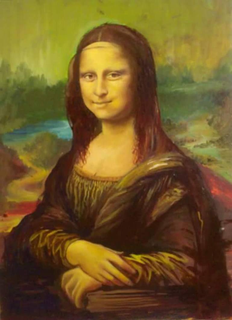 Tattoo Mona T-Shirt Girls Black  Lisa Louvre Kust Gemälde Da Vinci Portrait Fun