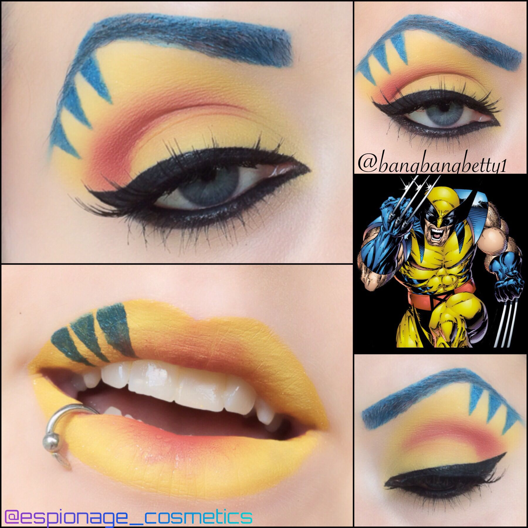 Wolverine eye makeup! Xmen, makeup art, wolverine, blue and yellow ...