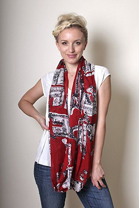 Women's Bonjour Paris Eiffel Tower Passion Red Infinity Scarf Loop Fashion Shawl at Amazon Women's Clothing store: