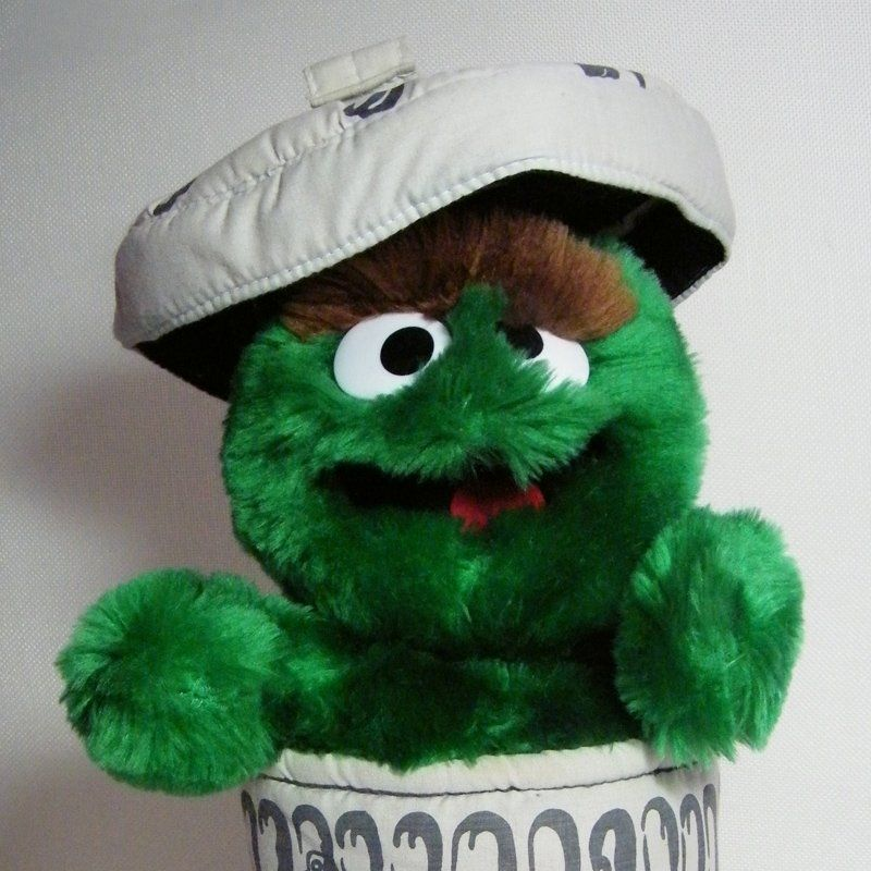 Oscar The Grouch With Trash Can Lid 12 Puppet Applause