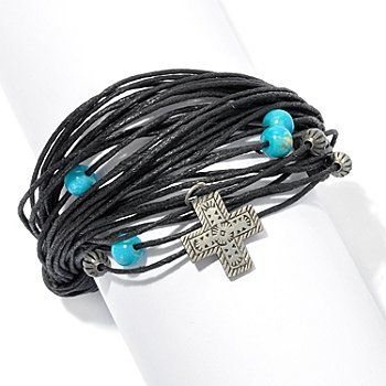 "Elements by Sarkash Silver-tone 7.5"" Turquoise Multi-cord Bracelet"