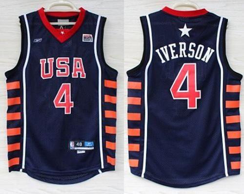 bda6fb4602a4 Nike Team USA  4 Allen Iverson Navy Blue 2004 Dream Team Stitched NBA Jersey