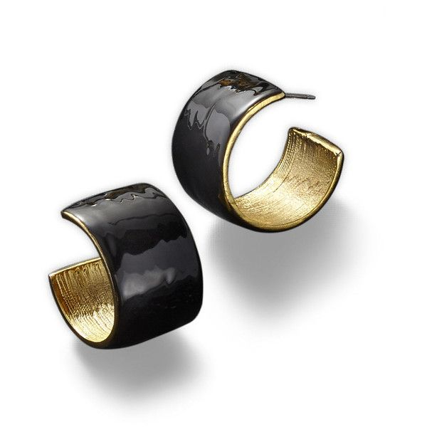 KJL by KENNETH JAY LANE Black Enamel and Gold-Tone Hoop Earrings ($50) ❤ liked on Polyvore featuring jewelry, earrings, gold tone earrings, long earrings, enamel jewelry, gold tone jewelry and hoop earrings