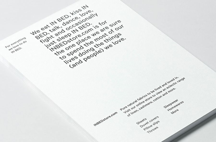 Print with laid paper detail for linen online retailer In Bed designed by Moffitt.Moffitt
