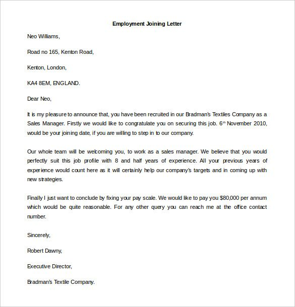 download employment joining letter template word format - cover letter word templates