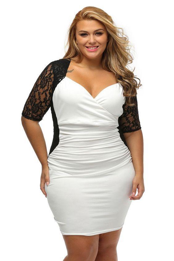 Black Wgite N Plus Size Cocktail Dresses