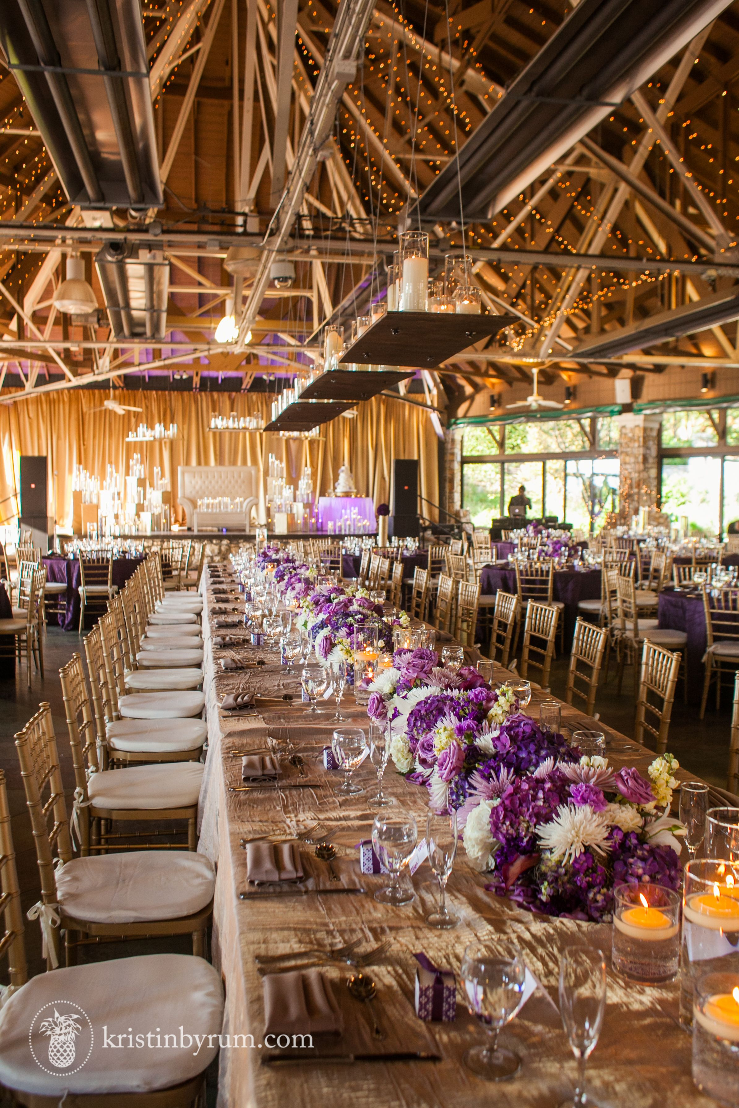 Purple Gold And Ivory Wedding Reception In Asheville Nc Crest