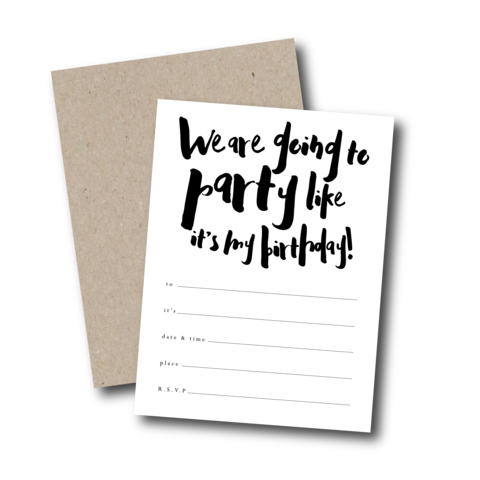 ITS MY BIRTHDAY Ready-To-Go Invitation Set monochrome unisex boy girl simple handwritten party fill in black white idea style Kraft Melbourne Australia