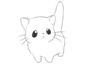 How To Draw Chibi Cat For Kids Kawaii Cat Drawing Chibi Drawings Kitten Drawing