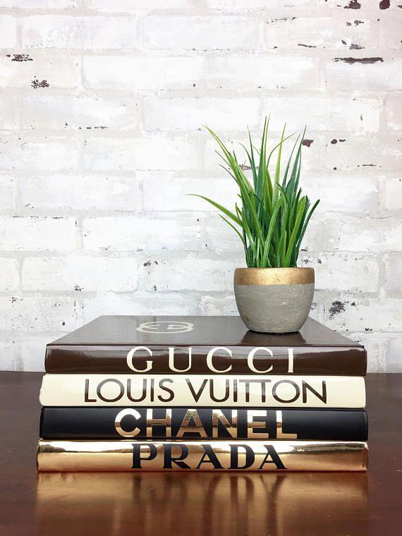 Elegant Chanel   Louis Vuitton   Gucci   Prada   4 LARGE OVERSIZED HUGE COFFEE  TABLE BOOKS Book Set   Black, Gold, Beige, Brown Designer Book Set This Oveu2026