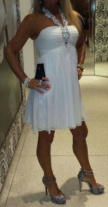 White dress with silver shoes by Guess ♥
