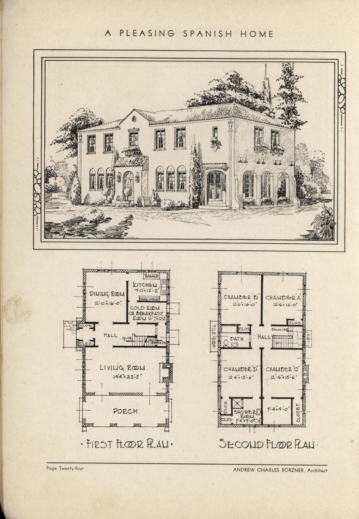 Vintage spanish revival house plans for Antique colonial house plans