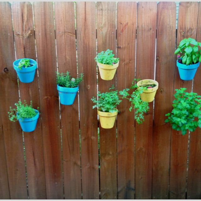 How cool! An herb pot garden hanging off the fence!!