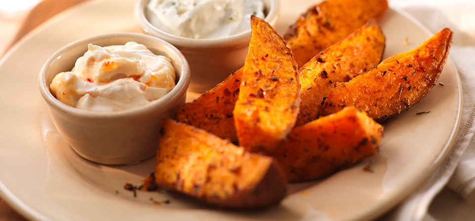 Spicy Sweet Potato Wedges With Sweet Chilli Philly Dip And Blue Cheese And Chive Philly Dip Tasty Dishes Savoury Food Philadelphia Recipes