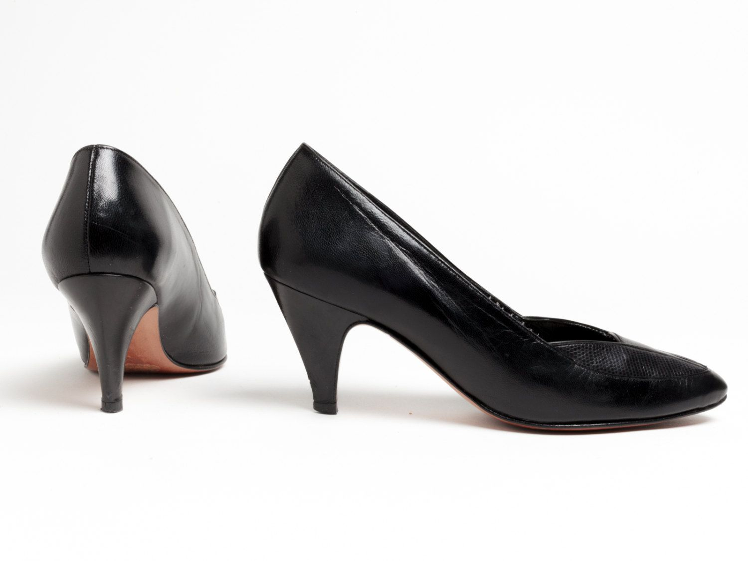 d68fc36138dcc 80s Black High Heels | Vintage Pumps | Black Leather Heels | Women's ...