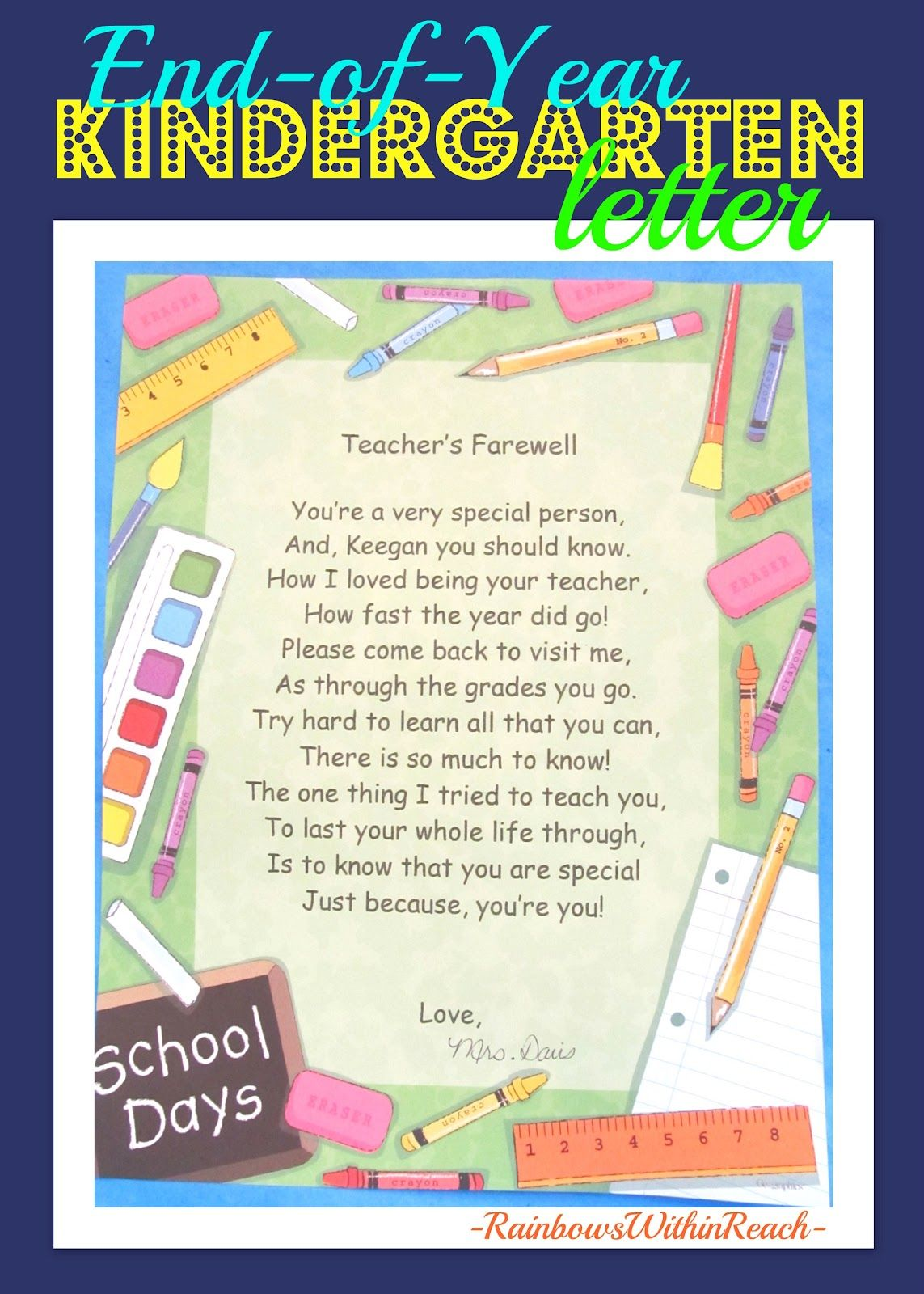 End of the year keepsakes rhymes memory books pinterest pre teachers farewell letter for end of year altavistaventures Gallery