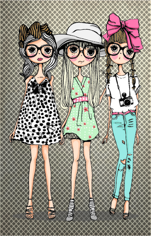 Simply Adorable 3 Girls Printables Cartoon Styles
