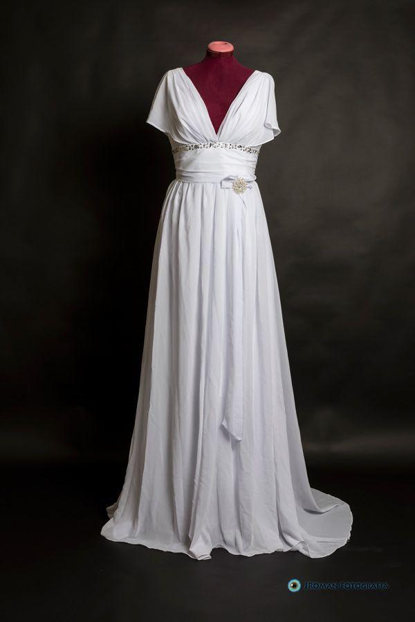Traje de corte griego estilo túnica, ligero, sencillo y elegante. Ninfa - Vestido de Novia Lowcost- La sonrisa de la novia Lisa