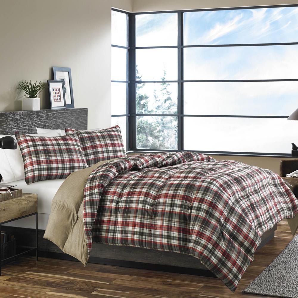 Eddie Bauer Astoria 3 Piece Red Full Queen Comforter Set Plaid