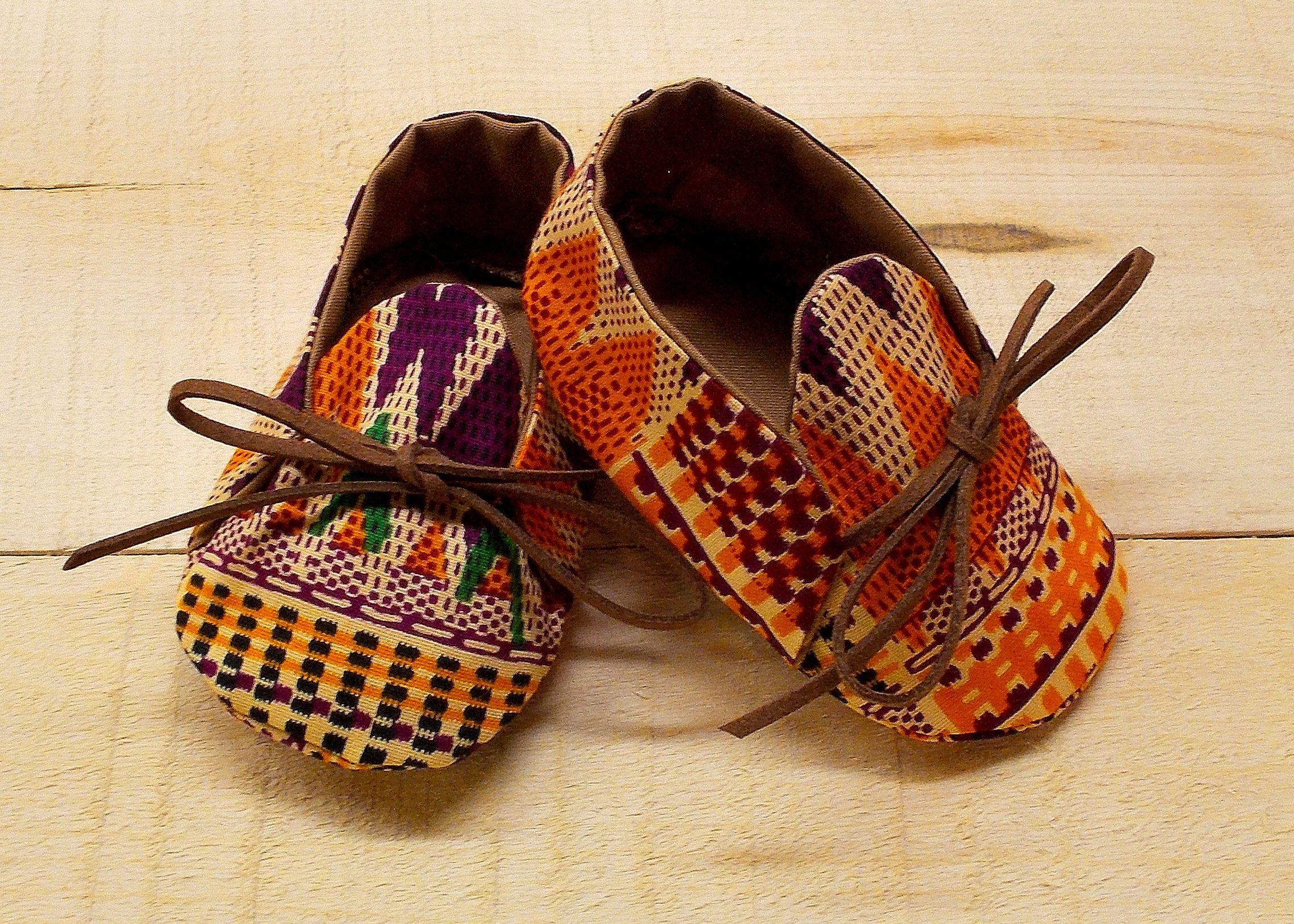 Orange Burgundy & Black African Kente Print Baby Booties by