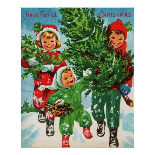 Getting The Christmas Tree Poster Zazzle Com Vintage Christmas Cards Christmas Postcard Vintage Holiday Cards