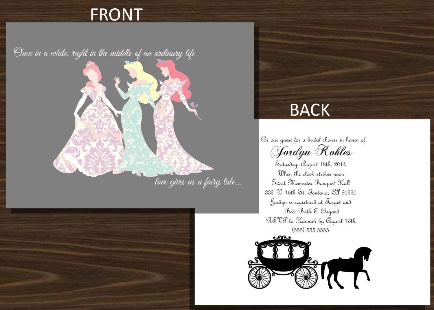 fairytale bridal shower invitation wording%0A Disney Princesses doublesiided  Silhouette Bridal Shower Invitation   x    by NhelyDesigns