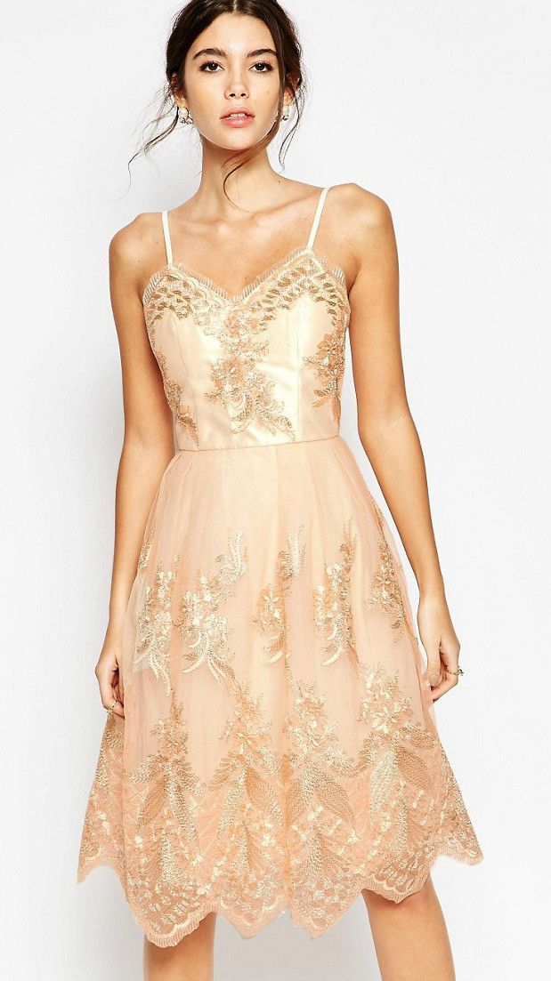 df749a32e1 Rose gold lace dress